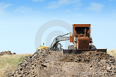 Construction site with heavy machinery