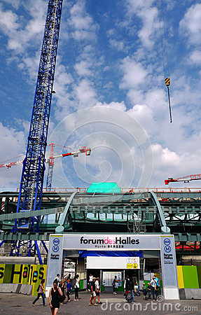 Construction site at Les Halles, Paris, France. Editorial Photography