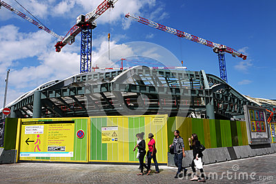Construction site at Les Halles, Paris, France. Editorial Stock Image