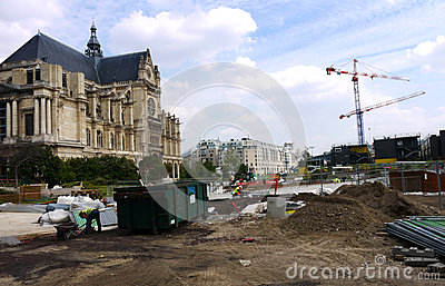 Construction site at Les Halles, Paris, France. Editorial Image