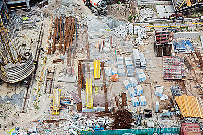 Construction site with many equipment and garbage
