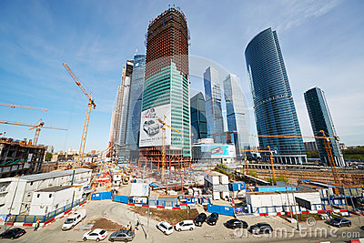 Construction site of Moscow International Business Center Editorial Image