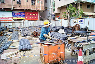Construction site: processing of strip shape steel Editorial Image