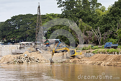 Construction site for protect river bank