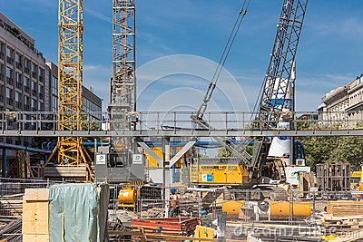 Construction site realisation new subway in Berlin Editorial Stock Photo