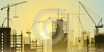 Construction Site with Tower Cranes Vector Illustration