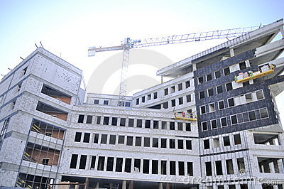 Construction Site with Unfinished Building