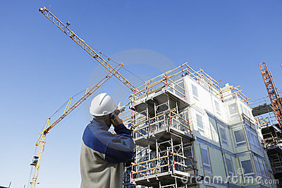Construction site with workers