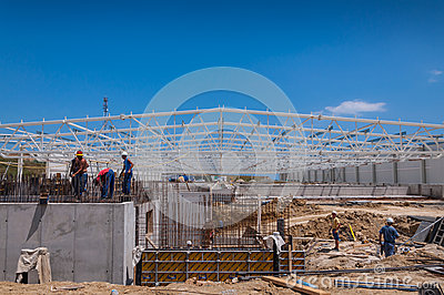 Construction site with workers copy space Editorial Photography