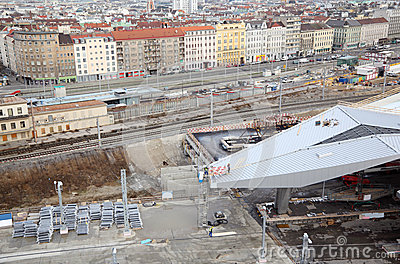 Construction of station yard near rails
