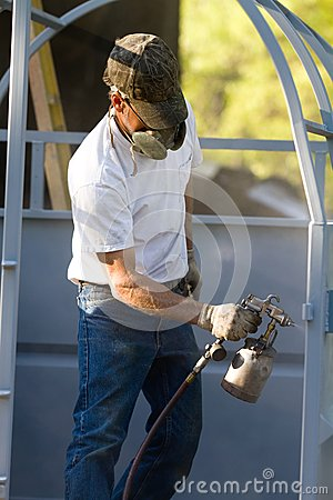 Spray Painting Worker