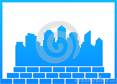 Construction symbol with city and bricks