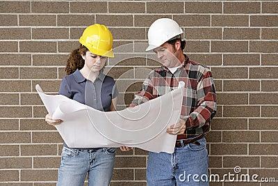 Construction Team with Bluepri