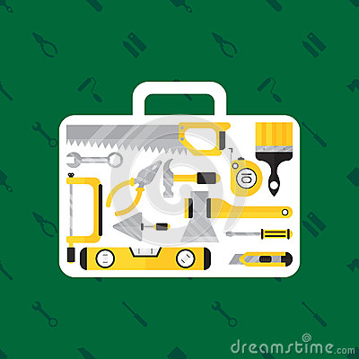 Free Construction Tool In Tool Box On Green Background Stock Images - 87358354