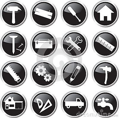 Construction tools icon set