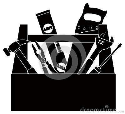Free Construction Tools In Tool Box Black And White Vector Illustration Stock Photos - 45891613