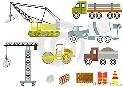 Construction trucks and equipment