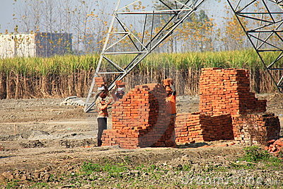 Construction work going on at Rural India Editorial Stock Image