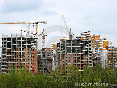 Construction work site place concept with cranes