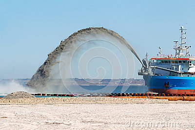 Construction work on the washing of sand from