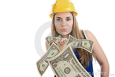 Construction worker blowing money