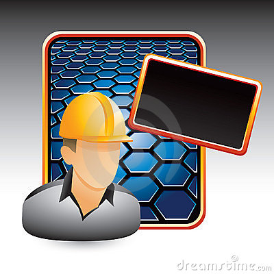 Construction worker on blue hexagon ad