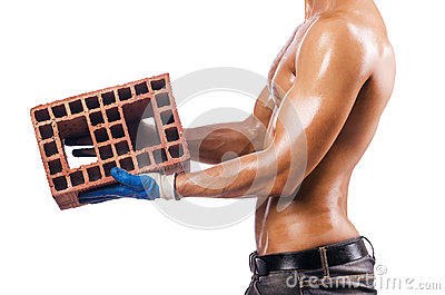 Construction worker with bricks