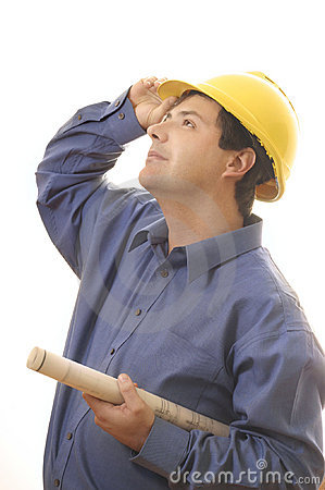Free Construction Worker Builder Looking Up Stock Image - 228501