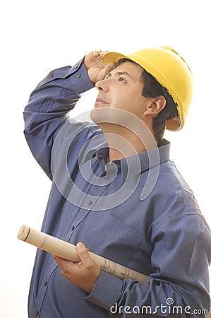 Construction worker builder looking up