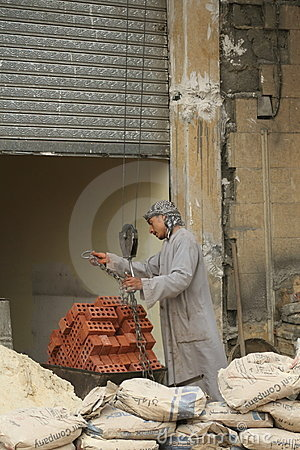 Construction worker in Cairo, Egypt Editorial Image