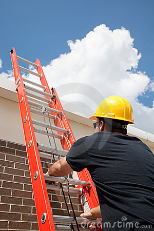 Free Construction Worker Climbs Ladder Stock Photo - 8683080