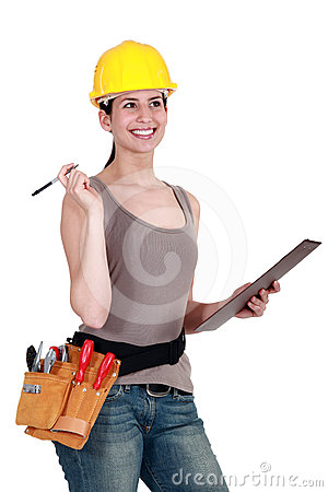 Construction worker with a clipboard