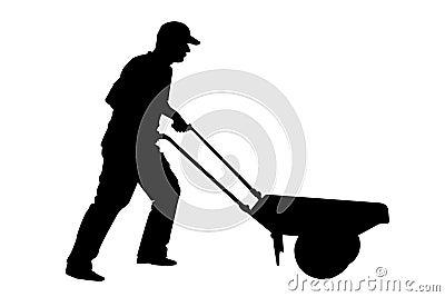 Construction worker or farmer with wheelbarrow