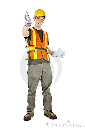 Construction worker gesturing