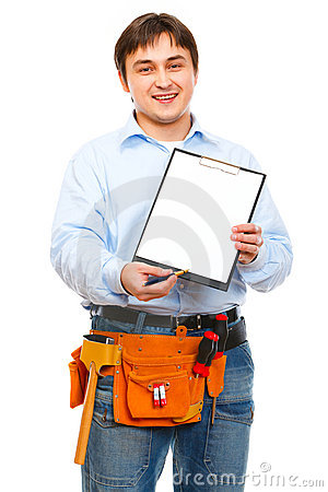 Construction worker giving clipboard for signing