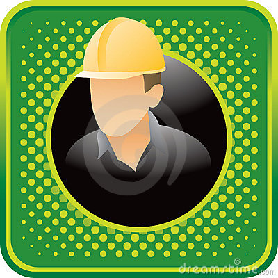 Construction worker on green halftone web icon
