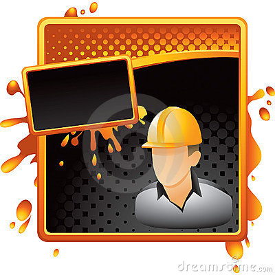 Construction worker on halftone grungy banner
