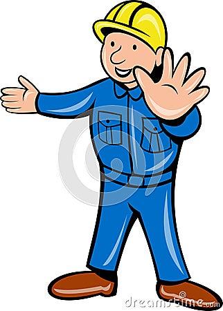 Construction worker hand stop