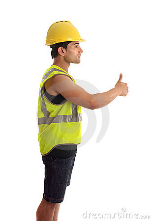 Construction worker handyman thumbs up