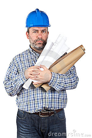 Construction worker holding blueprints