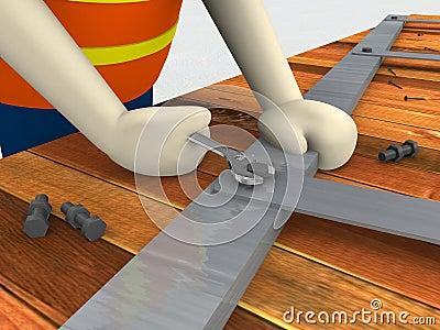 Construction worker holding spanner tighten bolt