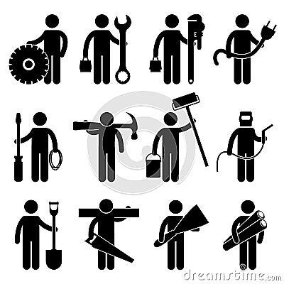 Construction Worker Job Pictogram