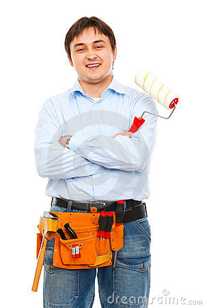 Construction worker with painting brush