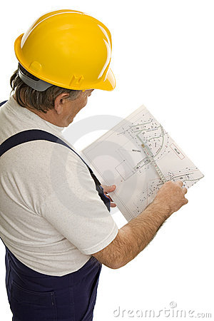 Construction worker with plan of an architect