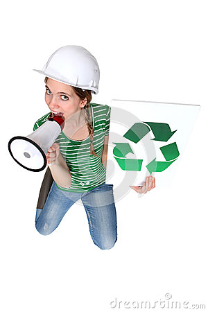 Construction worker promoting recycling