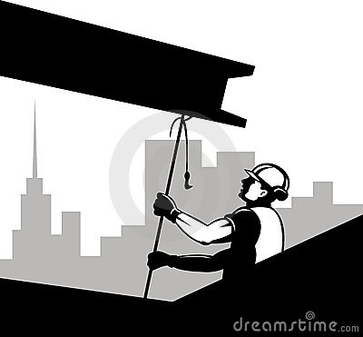 Construction worker pulling girder