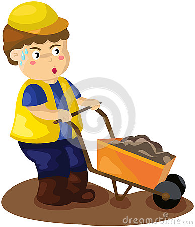 Construction worker pushing a wheelbarrow