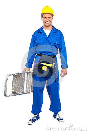 Construction worker ready with stepladder