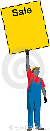 Construction Worker Showing Poster