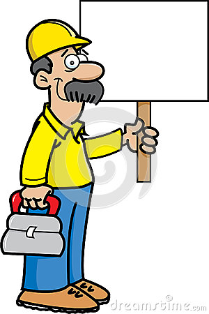 Construction worker with a sign